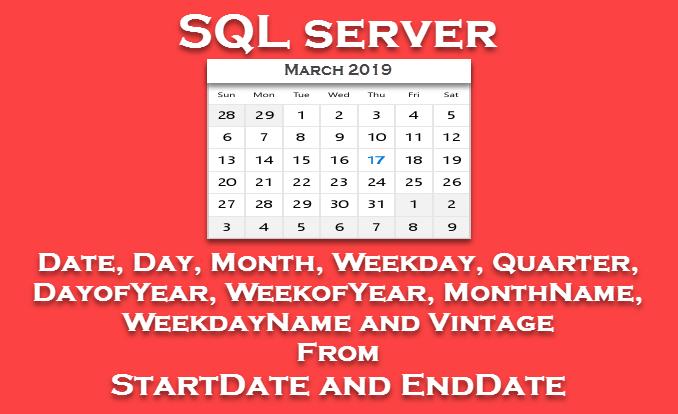 SQL Server - Calendar Date (Date, Day, Month, Weekday, Quarter, DayofYear, WeekofYear, MonthName, WeekdayName)