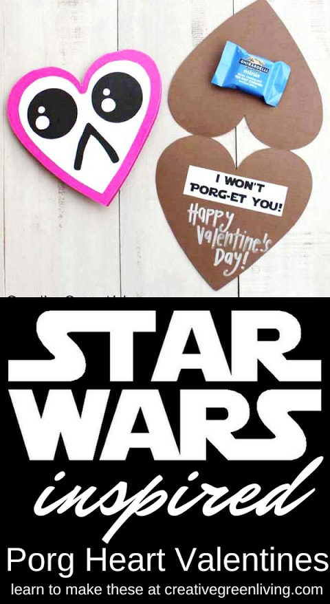 Get these free downloadable Star Wars inspired valentines featuring porgs! The Star Wars lover in your life will be obsessed with these. #creativegreenliving #starwars #valentines #freeprintablevalentines #starwarsvalentines #porg #porgcraft #starwarscraft
