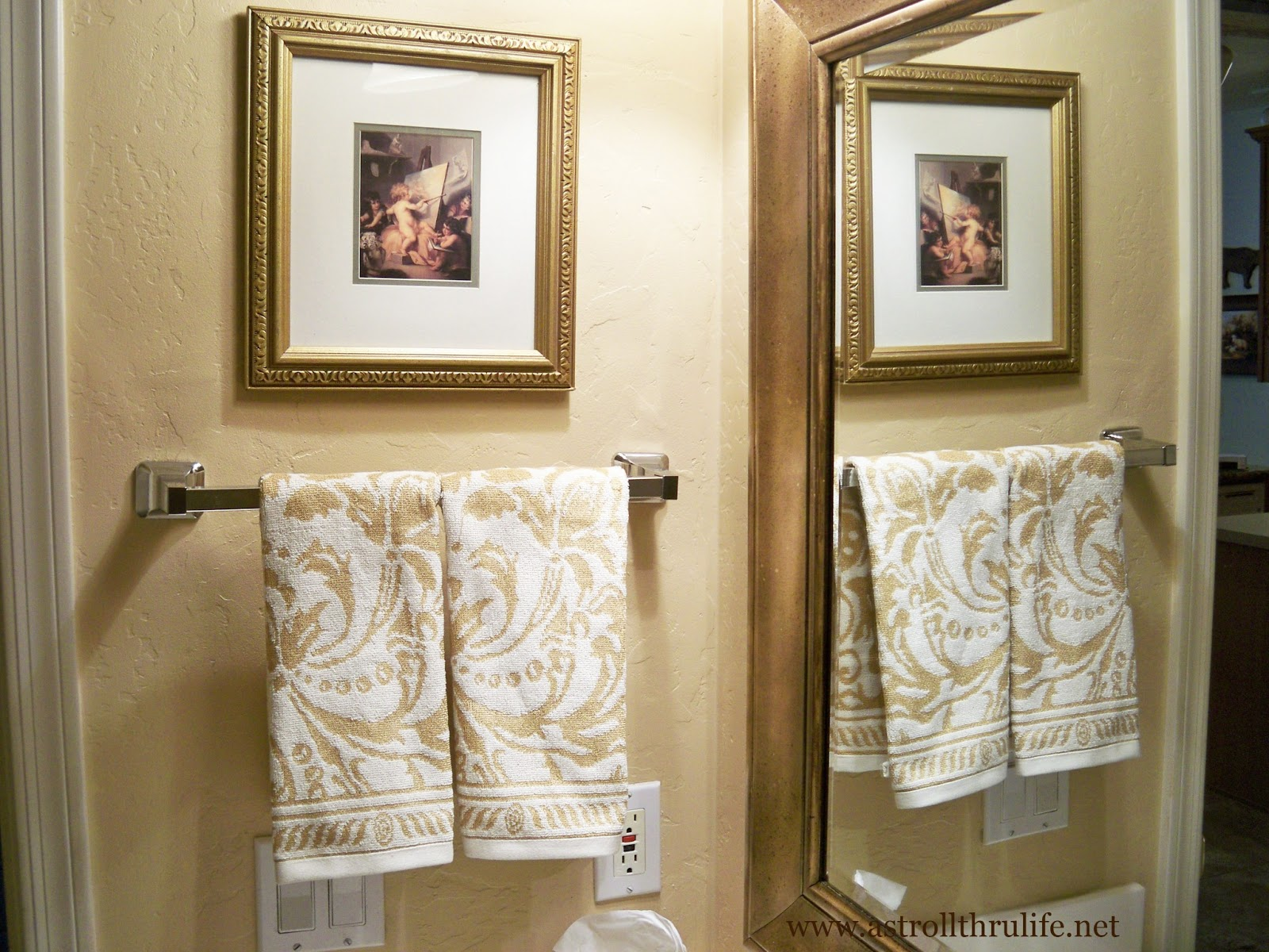 A stroll thru life how to patch a wall antique a mirror for Where to put towel bar in small bathroom