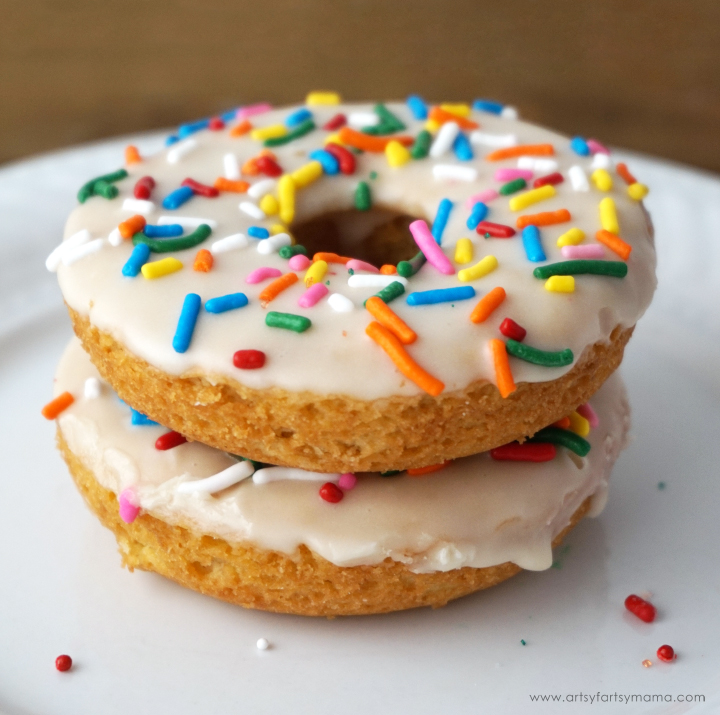 Enjoy Frosted Sugar Cookie Donuts or Reese's Peanut Butter Cup Donuts at home with this simple baked donut recipe! #DelightfulMoments