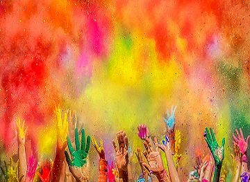 Festival of Colors - Holi - spread colors with hands
