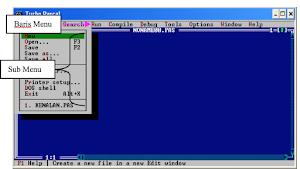 Mengaktifkan Menu dan Sub Menu Layar Editor Pascal