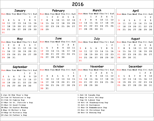2016 Calendar Printable with South Africa Holidays, 2016 South African ...