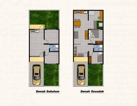 Denah rumah tipe 36 dengan 2 kamar tidur tanpa halaman belakang & Denah rumah tipe 36 dengan 2 kamar tidur tanpa halaman belakang ...