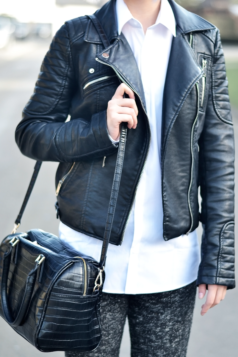 Zara leather jacket, primark white shirt, men, oversized, flared trousers, knitted, superga sneakers, camel, saint laurent inspired bag, crocodile, outfit, minimal, black white, grey hair