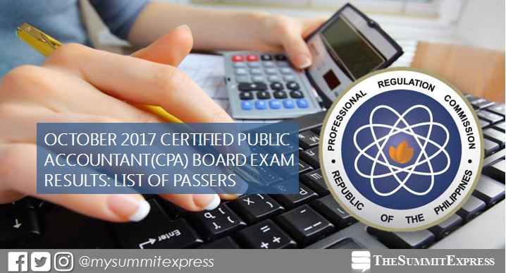 FULL RESULTS: October 2017 CPA board exam passers list, top 10