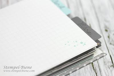 Geburtstagskalender; Scrapbookalbum basteln; Chinchworkshop; Kalender mit Spiralbindung basteln; Stempel-Biene