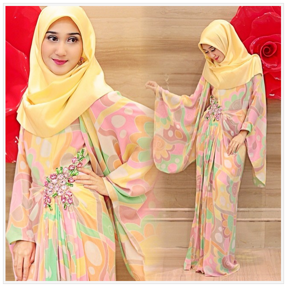 10 Model Dress Muslim Pesta Dian Pelangi Modern Terbaru 2016 Bnews