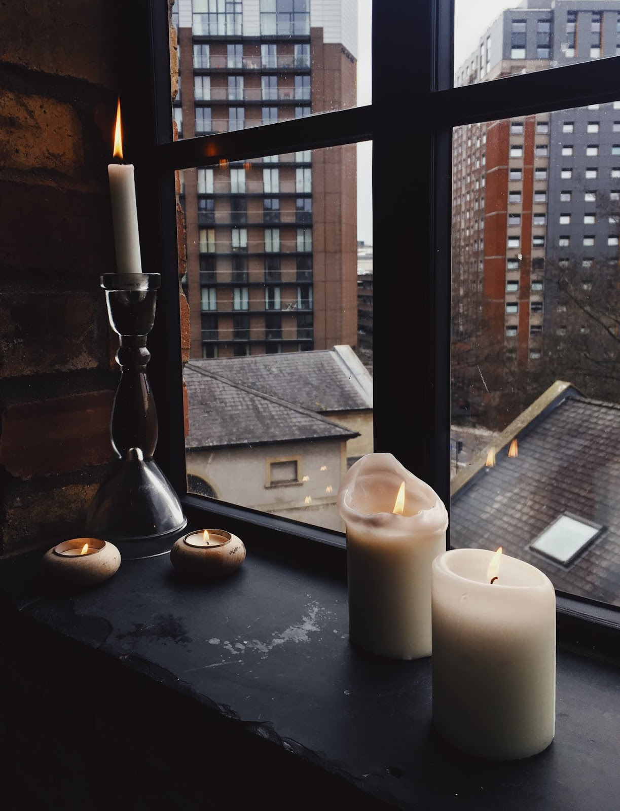 Yoga Brunch Club at The Forge Colton Yard Bristol candles on windowsill
