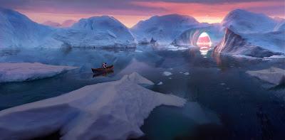 Hombre montado en pequeño barco por el mar helado