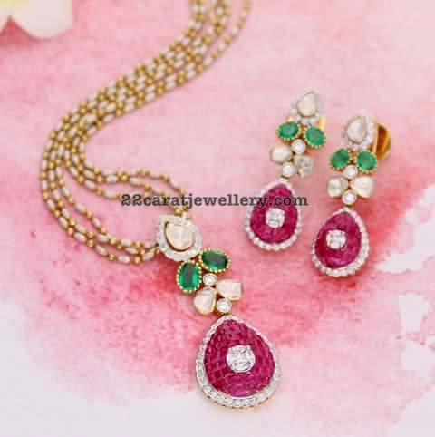 Ruby Diamond Incredible Pendant Earrings