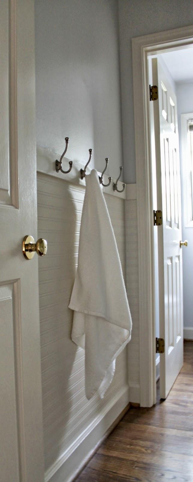 Fresh Paint, Beadboard Wallpaper & Towel Hooks