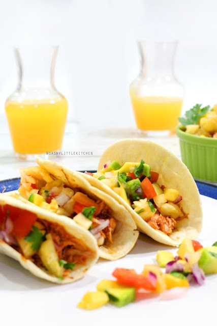 Orange Chicken Tacos with Pineapple Salsa