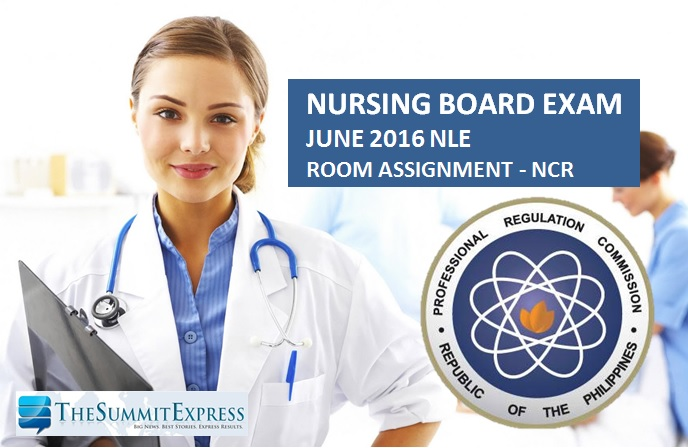 Manila Room Assignments for June 2016 NLE nursing board exam