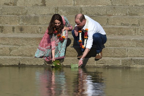Prince William and his wife Catherine, Duchess of Cambridge visit the historic Banganga water tank in Mumbai