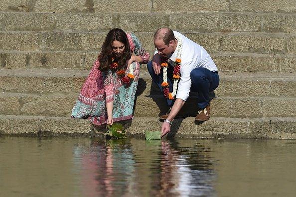 Prince William and his wife Catherine, Duchess of Cambridge visit the historic Banganga water tank in Mumbai