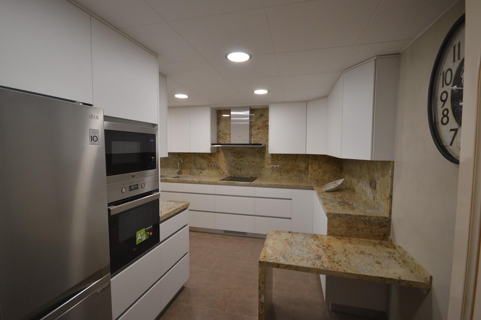 Reuscuina muebles de cocina blanco mate sin tiradores for Muebles de cocina sin tiradores