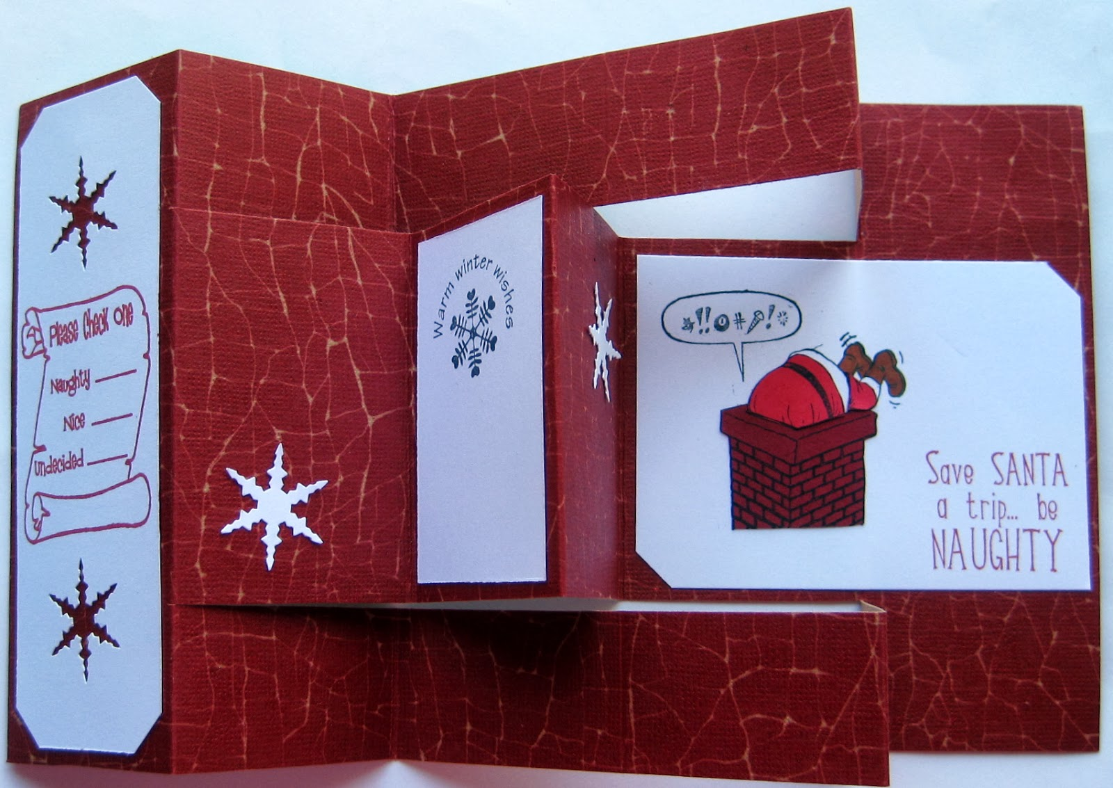 Karens Kreative Kards Tri Shutter Naughty Christmas Card From