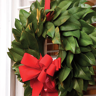 Decorating for the Season with Magnolia Leaves   Driven by Decor The size and shape of magnolia leaves make them perfect for wreaths   Southern Living has a great online guide with instructions  here  on how to  make your