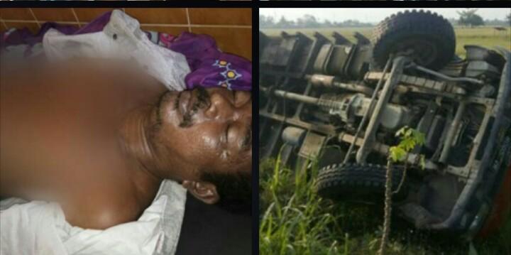 Arbai warga Sei Kepayang Asahan yang tewas terrimpa kayu muatan truk yang terbalik.