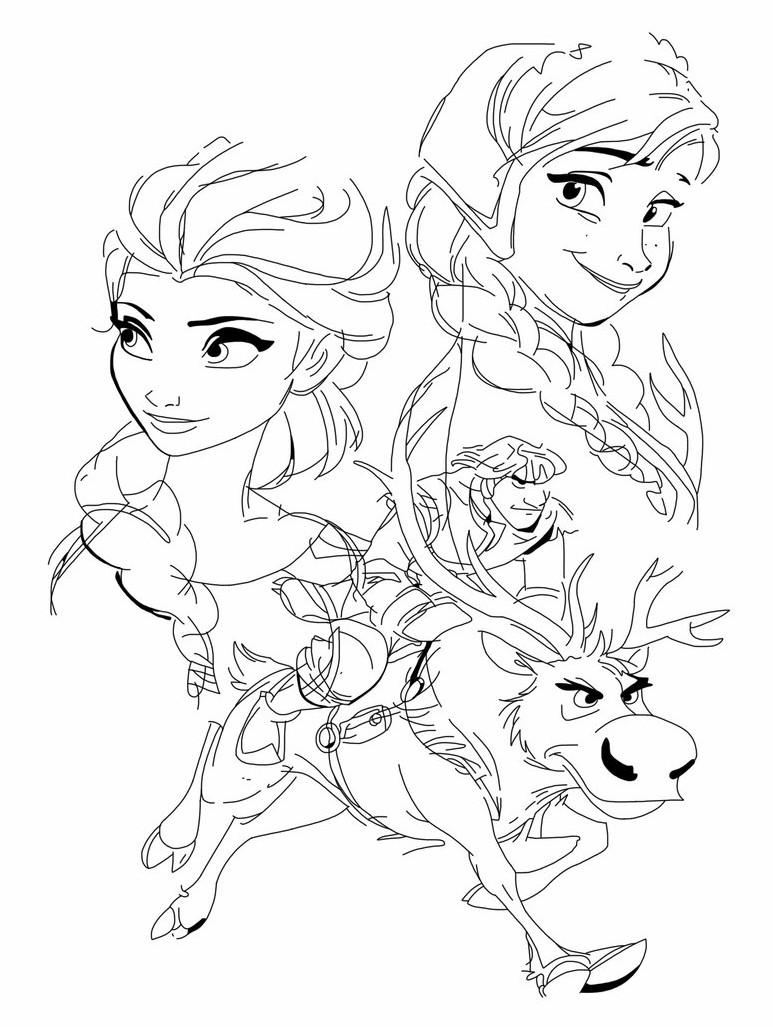 Gambar Mewarnai Frozen Elsa dan Anna