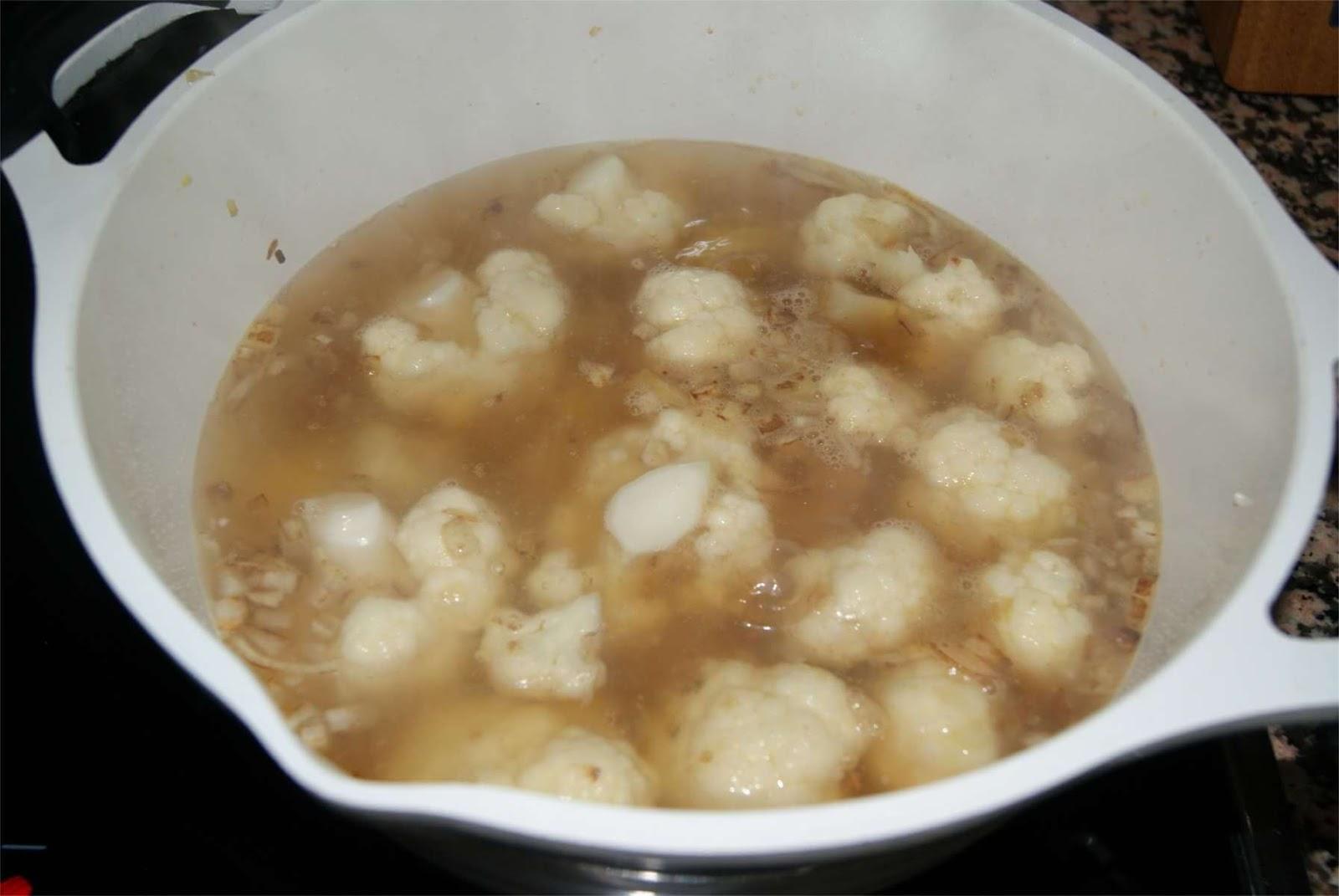 Crema de coliflor al curry paso 3