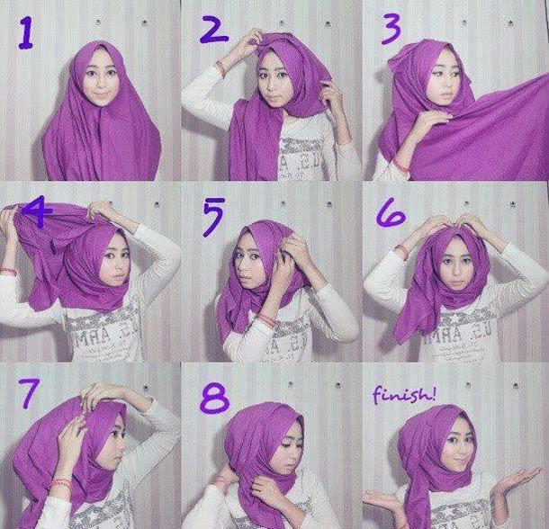 cara memakai hijab segi empat lengkap