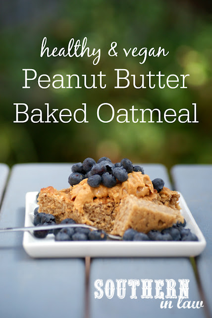 Healthy Vegan Peanut Butter Baked Oatmeal Recipe - low fat, gluten free, healthy, vegan, clean eating recipe, healthy breakfast recipes, freezer friendly,  breakfast meal prep