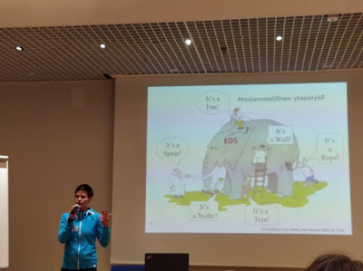 Kuva Hanna Markkulasta luennoimassa Sedyn vertaistapaamisessa Tikkurilassa.