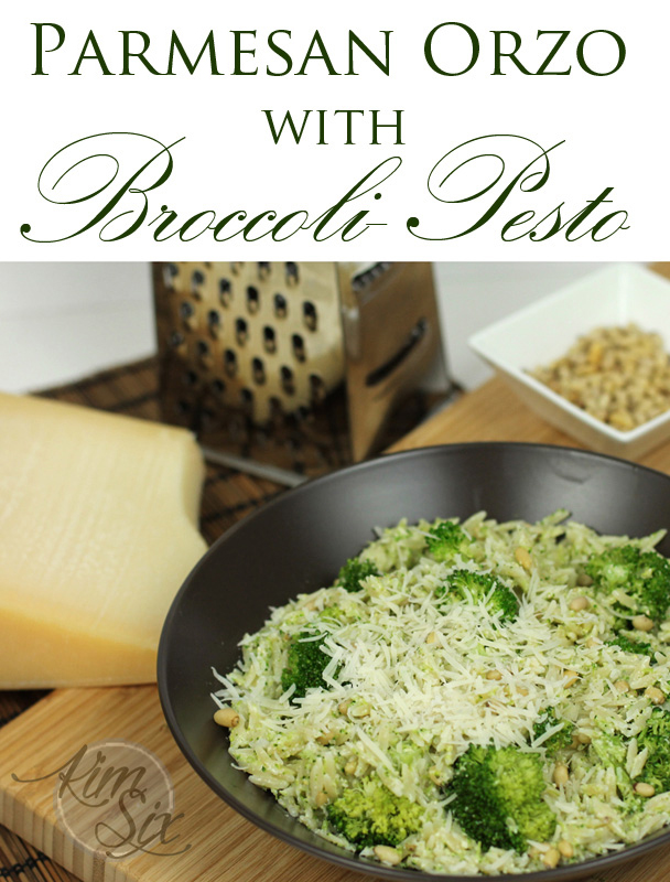Parmesen Orzo with Broccoli Pesto