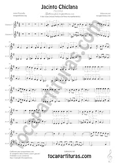 Clarinete Partitura a dos voces de Jacinto Chiclana Sheet Music for Clarinet Music Score