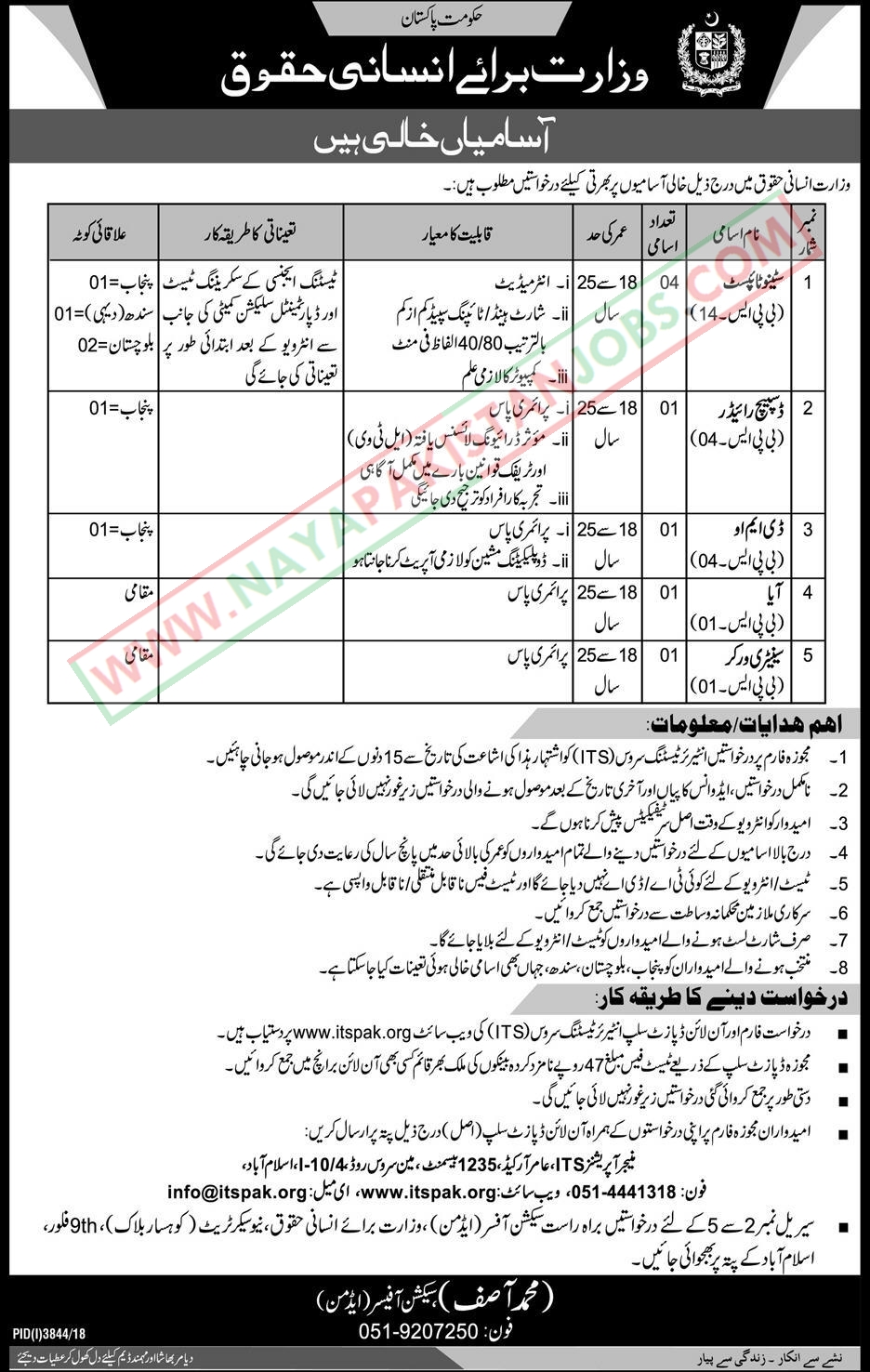 Ministry Of Human Rights Jobs 2019 Feb,  Govt of Pakistan Ministry Of Human Rights Jobs 2019 Feb