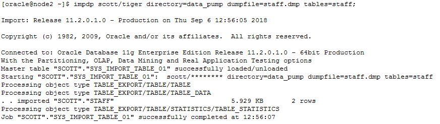 Oracle database data pump import (impdp) [gerardnico].