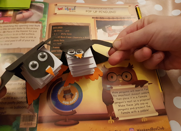 Creating Pop Up Penguins from our Weekend Box Craft Subscription
