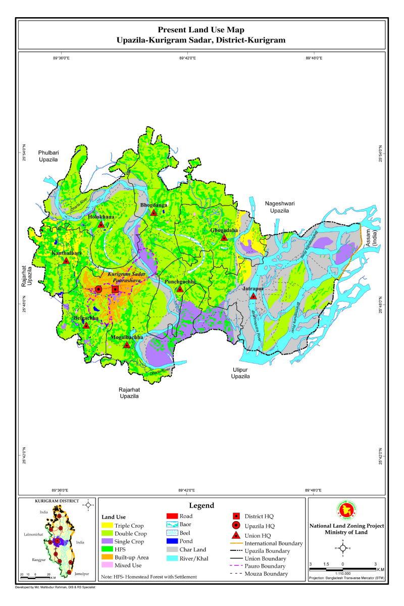 Kurigram Sadar Upazila Mouza Map Kurigram District Bangladesh