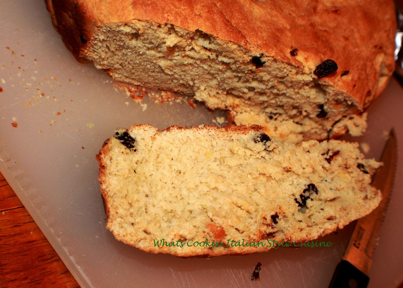 This is an Italian panettone bread made at Christmas with dark and golden raisins with Amaretto flavors