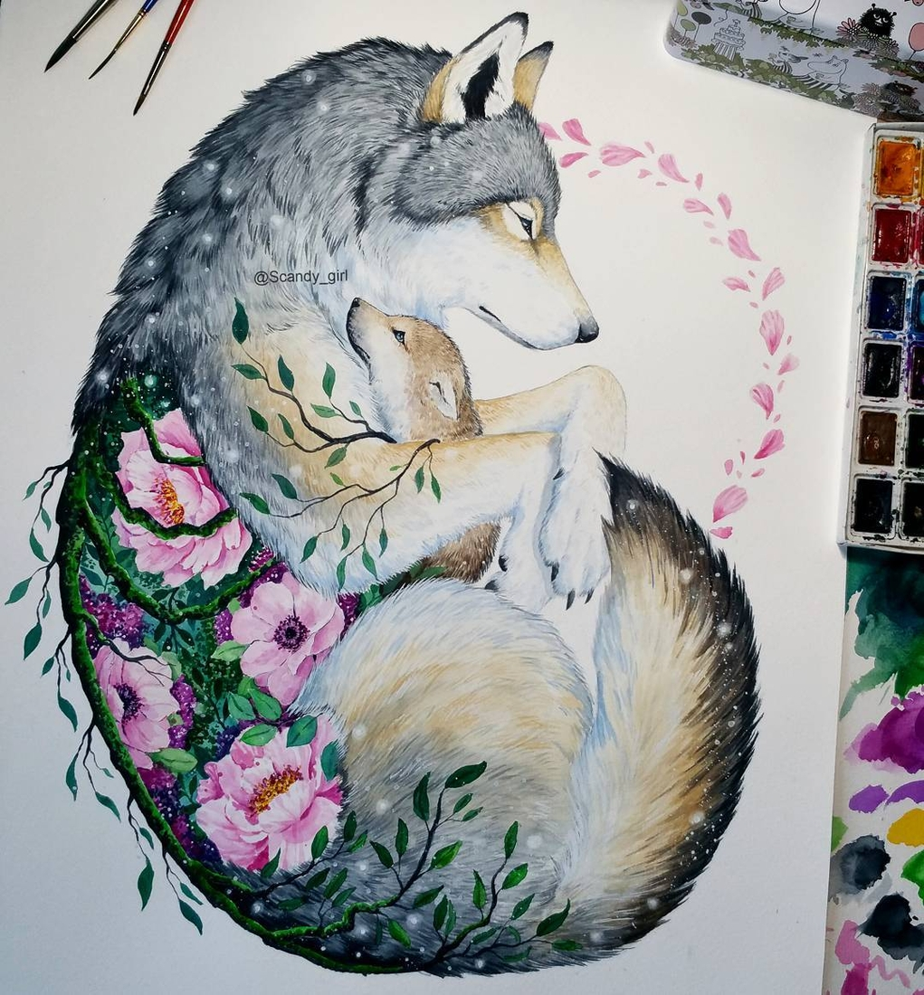 08-Mother-s-love-Wolf-and-Cub-Jonna-Lamminaho-Mixed-Media-Animal-Paintings-www-designstack-co
