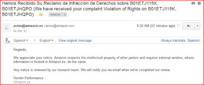 Email Acknowledgement from Amazon Spain for Copyright Infringement Complaints