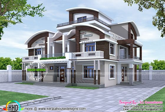 North Indian Style Decorative House Kerala Home Design