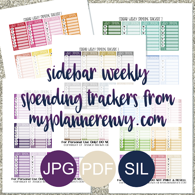 Free Printable Sidebar Weekly Spending Trackers from myplannerenvy.com