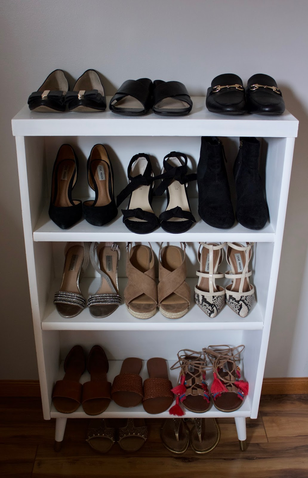 bookcase full of shoes