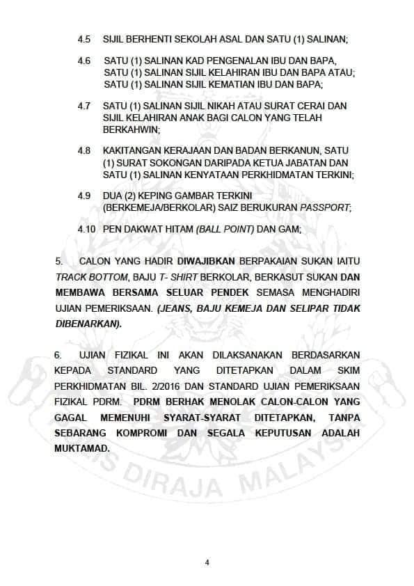 Tarikh Temuduga Terbuka Polis Diraja Malaysia (PDRM) Siri 2/2018