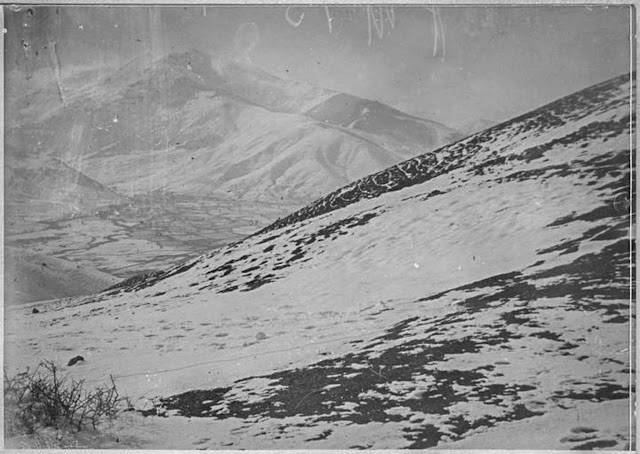 Panoramic view of the battlefield – Pelister and villages Trnovo, Magarevo, from where the Bulgarian and German armies bombarded Bitola for nearly two years. Among the local population within the city (~25.000) were stationed the Entente armies – mostly Serbian, French, Russian and Italian Bitola, January 1917