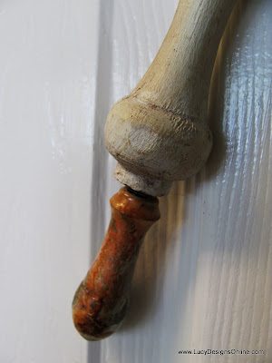 recycled brass faucet handle as a tail finial on dragonfly