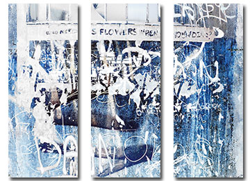 abstract, industrial, urban decay, wall art, contemporary, canvas art, blue, white, grey, black,