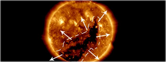 buraco coronal potente está de frente com a Terra