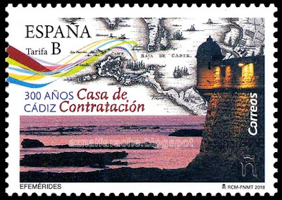 Filatelia - Efemérides. 300 Aniversario Casa de Contratación de Cádiz  - Sello conmemorativo