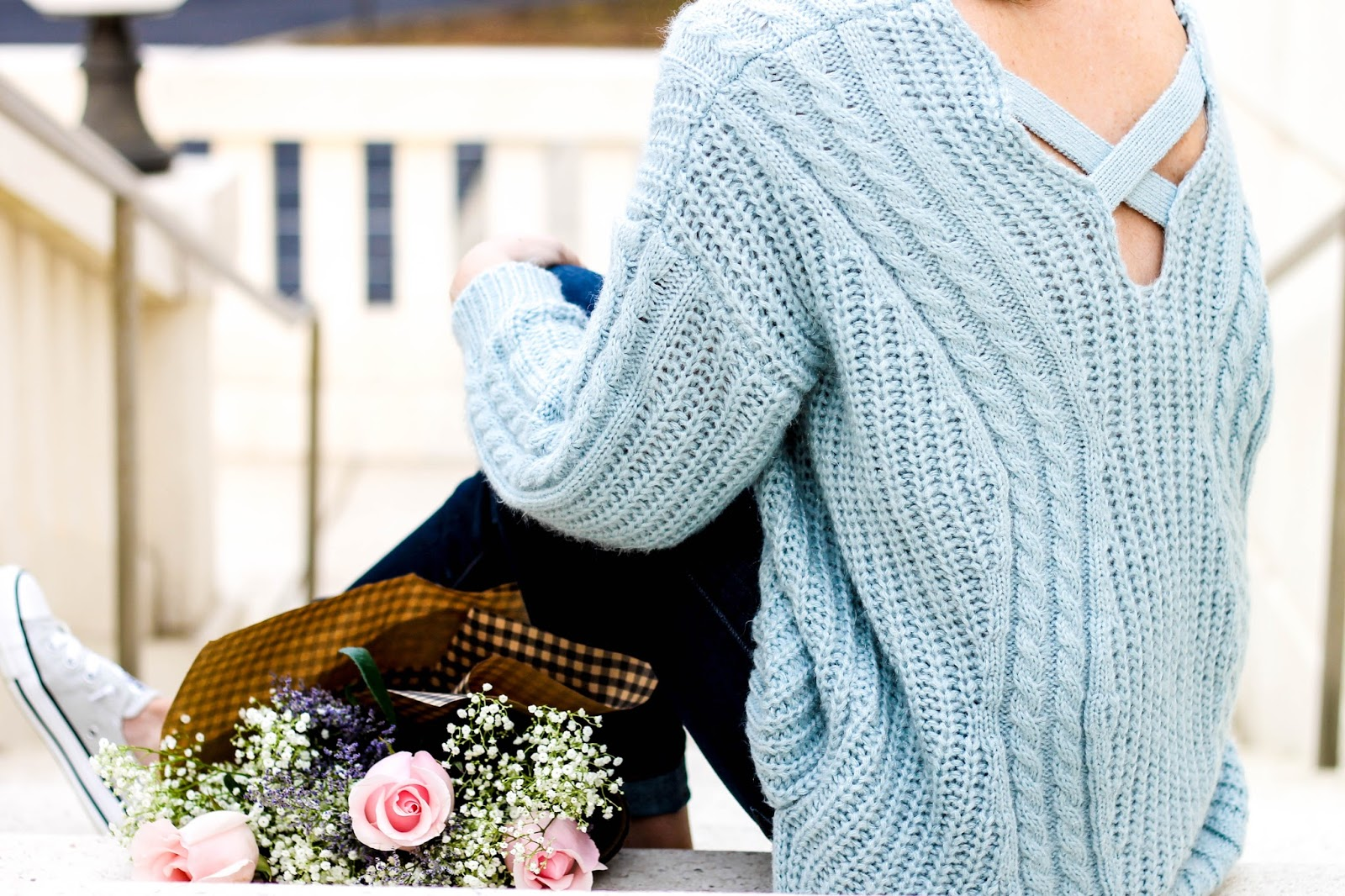 Sunny Afternoon V-neck Sweater Chicwish, chunky knit carolina blue sweater, winter outfit idea, casual winter outfits, fashion blogger NC, chicwish sweater, oversized knit sweater in light blue, north carolina blog, pretty in the pines, dark skinny jeans, converse shoreline sneakers