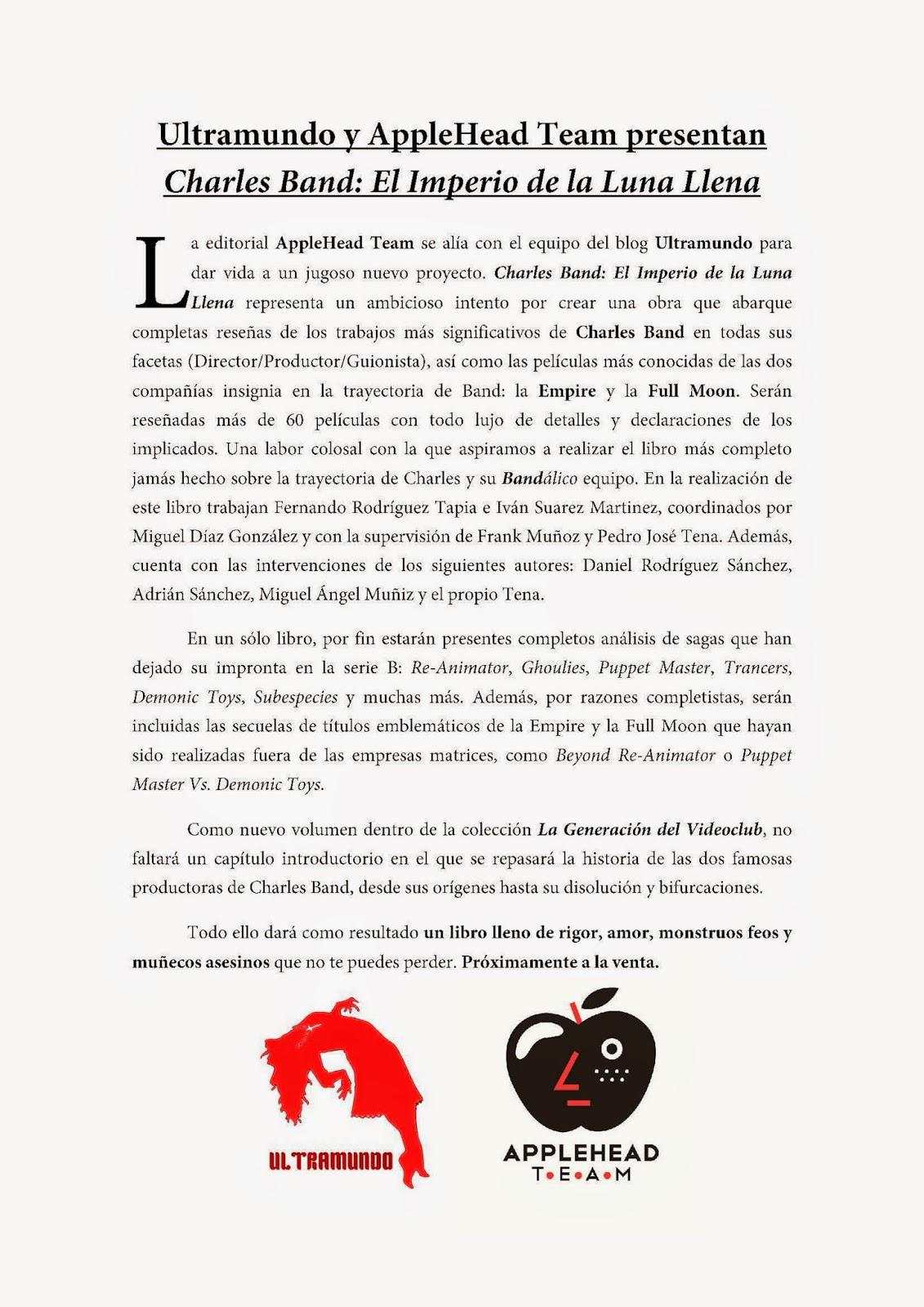 """""""AppleHead Team"""" y """"Ultramundo"""" unen esfuerzos para el libro """"Charles Band   El Imperio de la Luna Llena"""" 342420acbde"""