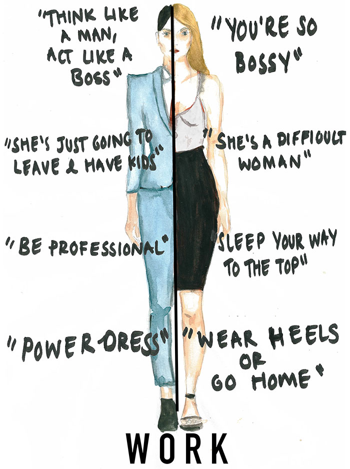 Artist's Illustrations Depict The Ridiculous Expectations Women Deal With Every Day - Work